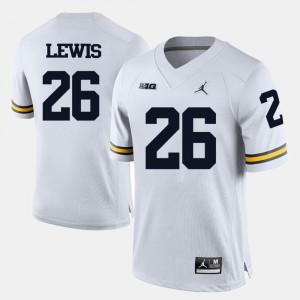 U of M #26 For Men Jourdan Lewis Jersey White College Football University 843874-477