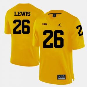 Wolverines #26 Men's Jourdan Lewis Jersey Yellow College Football University 733750-531