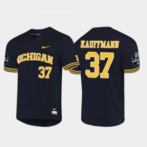 Michigan #37 For Men's Karl Kauffmann Jersey Navy NCAA 2019 NCAA Baseball College World Series 546786-121