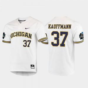 U of M #37 Men Karl Kauffmann Jersey White Alumni 2019 NCAA Baseball College World Series 398647-880