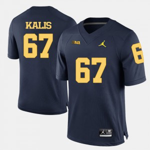 Wolverines #67 Men Kyle Kalis Jersey Navy Blue College Football Embroidery 549595-228