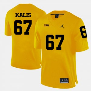 University of Michigan #67 Mens Kyle Kalis Jersey Yellow College Football University 360814-613