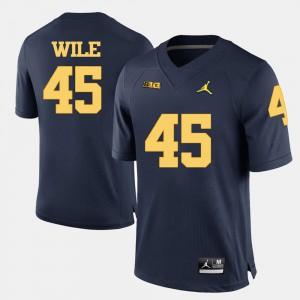 University of Michigan #45 For Men Matt Wile Jersey Navy Blue College Football Stitch 621651-194