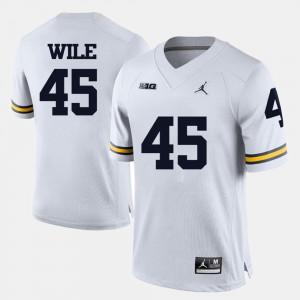 Michigan Wolverines #45 For Men Matt Wile Jersey White Stitch College Football 691429-384