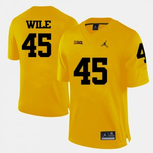 Wolverines #45 Mens Matt Wile Jersey Yellow Stitched College Football 787443-625