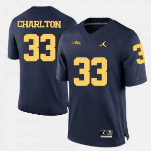 Wolverines #33 For Men Taco Charlton Jersey Navy Blue High School College Football 222464-243