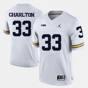 University of Michigan #33 Men's Taco Charlton Jersey White College Football Official 948594-590