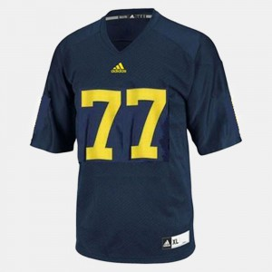 U of M #77 Youth Taylor Lewan Jersey Blue Official College Football 293673-860