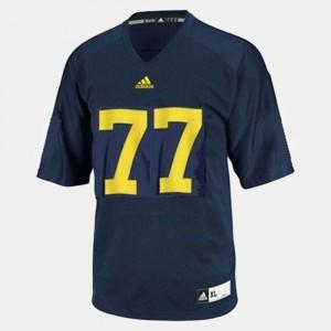 U of M #77 Men's Taylor Lewan Jersey Blue Player College Football 225369-882