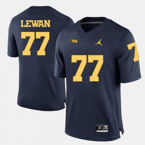 Wolverines #77 For Men's Taylor Lewan Jersey Navy Blue Official College Football 508603-385