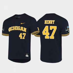 University of Michigan #47 For Men's Tommy Henry Jersey Navy University 2019 NCAA Baseball College World Series 887060-426