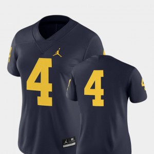 University of Michigan #4 For Women's Jersey Navy 2018 Game College Football High School 681868-418