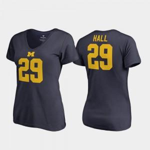 Michigan #29 Womens Leon Hall T-Shirt Navy V-Neck College Legends Player 501887-143