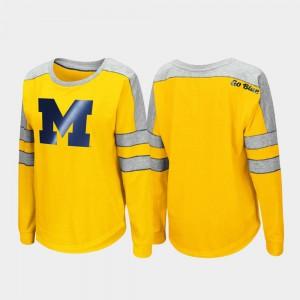 U of M Women T-Shirt Maize Long Sleeve Trey Dolman University 351533-709