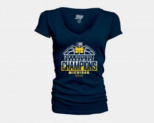 University of Michigan For Women's T-Shirt Navy V-Neck 2018 Big Ten Champions Locker Room Basketball Conference Tournament University 240021-434