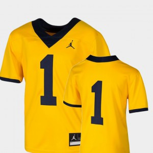 Michigan #1 Youth Jersey Maize College College Football Team Replica 671896-752
