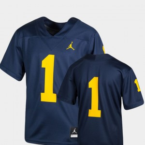 Michigan #1 For Kids Jersey Navy Official Team Replica College Football 544939-560