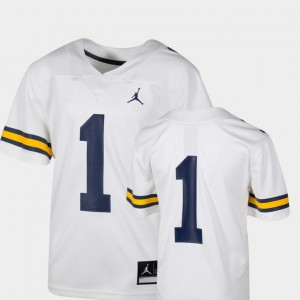 Michigan #1 Kids Jersey White Team Replica College Football Alumni 603932-288