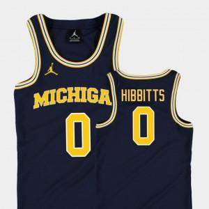 University of Michigan #0 Youth(Kids) Brent Hibbitts Jersey Navy College Basketball Jordan Replica NCAA 520776-359