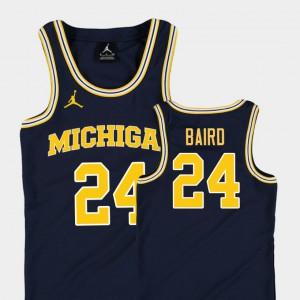 Michigan #24 Youth C.J. Baird Jersey Navy College Basketball Jordan Replica University 630815-872