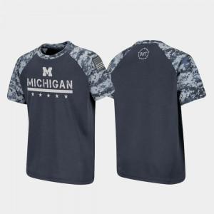 University of Michigan Youth T-Shirt Charcoal Embroidery OHT Military Appreciation Raglan Digital Camo 759896-327