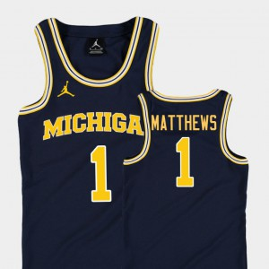 U of M #1 Youth(Kids) Charles Matthews Jersey Navy College Basketball Jordan Replica Stitch 975674-579