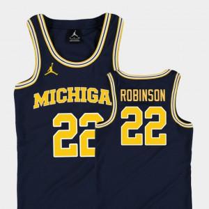 Michigan #22 Kids Duncan Robinson Jersey Navy NCAA Replica College Basketball Jordan 799663-434