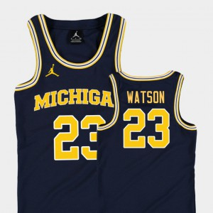 Michigan Wolverines #23 Youth(Kids) Ibi Watson Jersey Navy Embroidery College Basketball Jordan Replica 946473-128