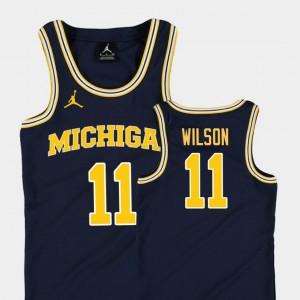 Michigan #11 Kids Luke Wilson Jersey Navy College Basketball Jordan Replica Official 408501-646