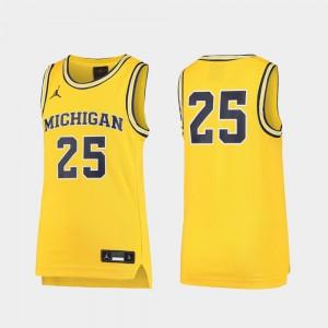 Michigan #25 Youth Jersey Maize Basketball Replica High School 270838-270