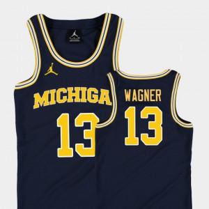 Michigan #13 Youth Moritz Wagner Jersey Navy Stitch College Basketball Jordan Replica 319937-156