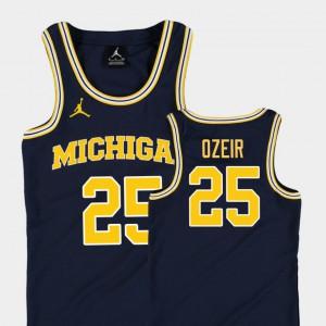 Michigan #25 Kids Naji Ozeir Jersey Navy Player Replica College Basketball Jordan 174325-546