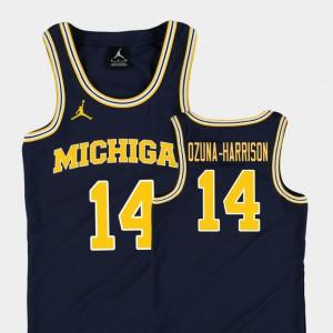 University of Michigan #14 Youth Rico Ozuna-Harrison Jersey Navy College Replica College Basketball Jordan 223098-560