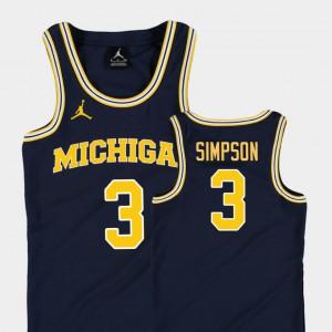 U of M #3 Kids Zavier Simpson Jersey Navy NCAA Replica College Basketball Jordan 437913-197